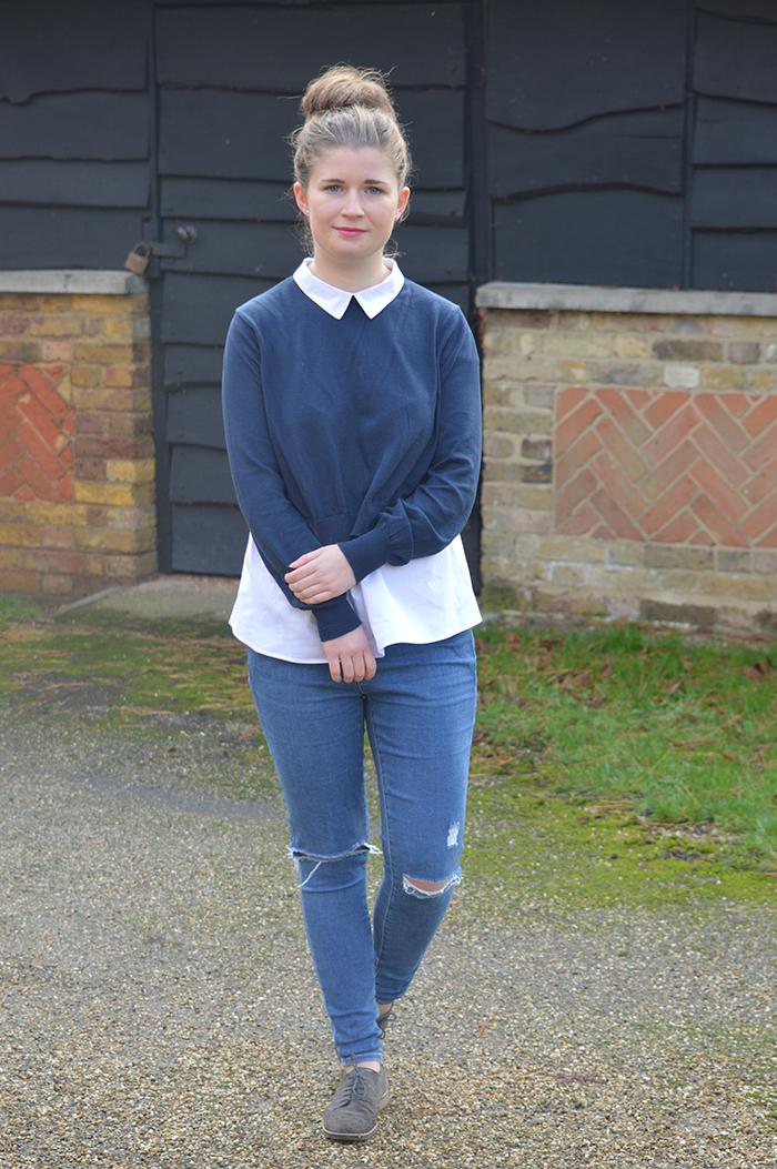 blue zara coat fashion bloggers