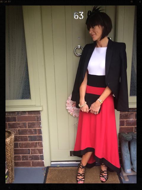 Bon Prix Dipped Hem Dress By Rainbow My Midlife Fashion Wedding Outfit Zara Blazer Tuxedo Jacket Fascinator accessorize