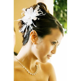 IVORY Floral Feather Bridal Hair Accessories