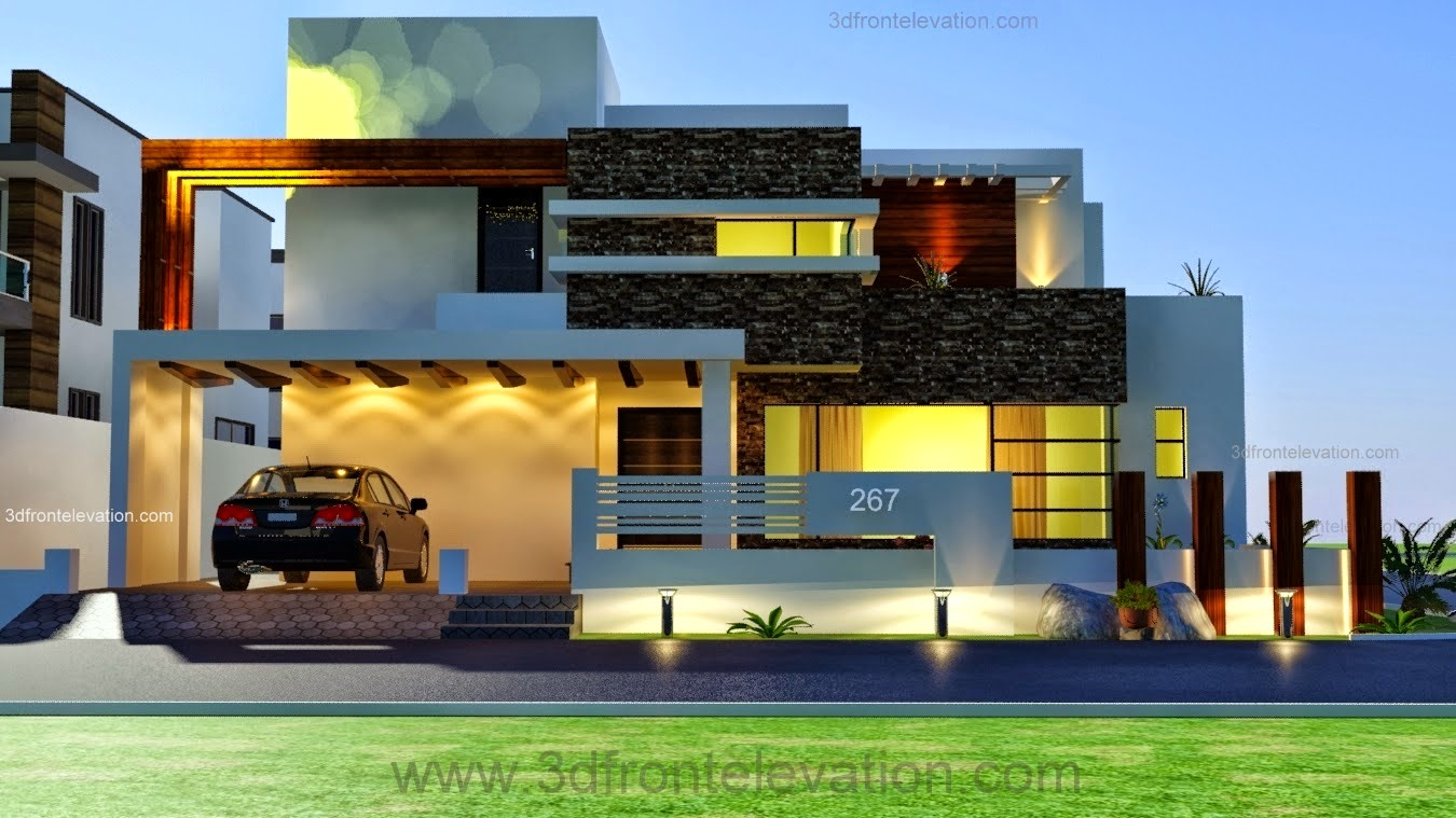 3d front 1 kanal modern contemporary design for Elevation design photos residential houses