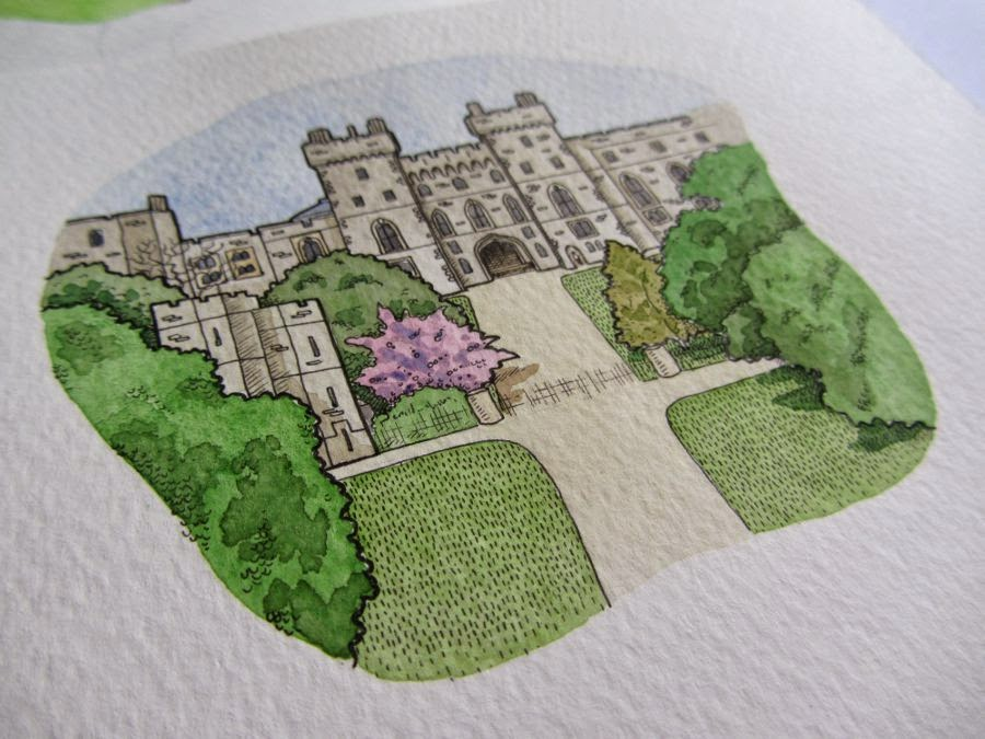 watercolour painting of Windsor Castle