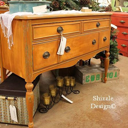 Antique Buffet Hand Painted in CeCe Caldwell's Mesa Sunset - Shizzle Design  Best Painted Furniture 2012 - Antique Furniture Michigan Antique Furniture