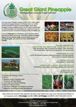 Lowongan Management Trainee Great Giant Pineapple Company (GGPC)