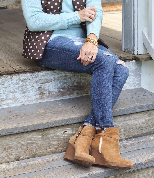 halogen sweater, loft vest, AG jeans, Ugg boots, Elizabeth and James sunglasses, Julie Vos bracelet