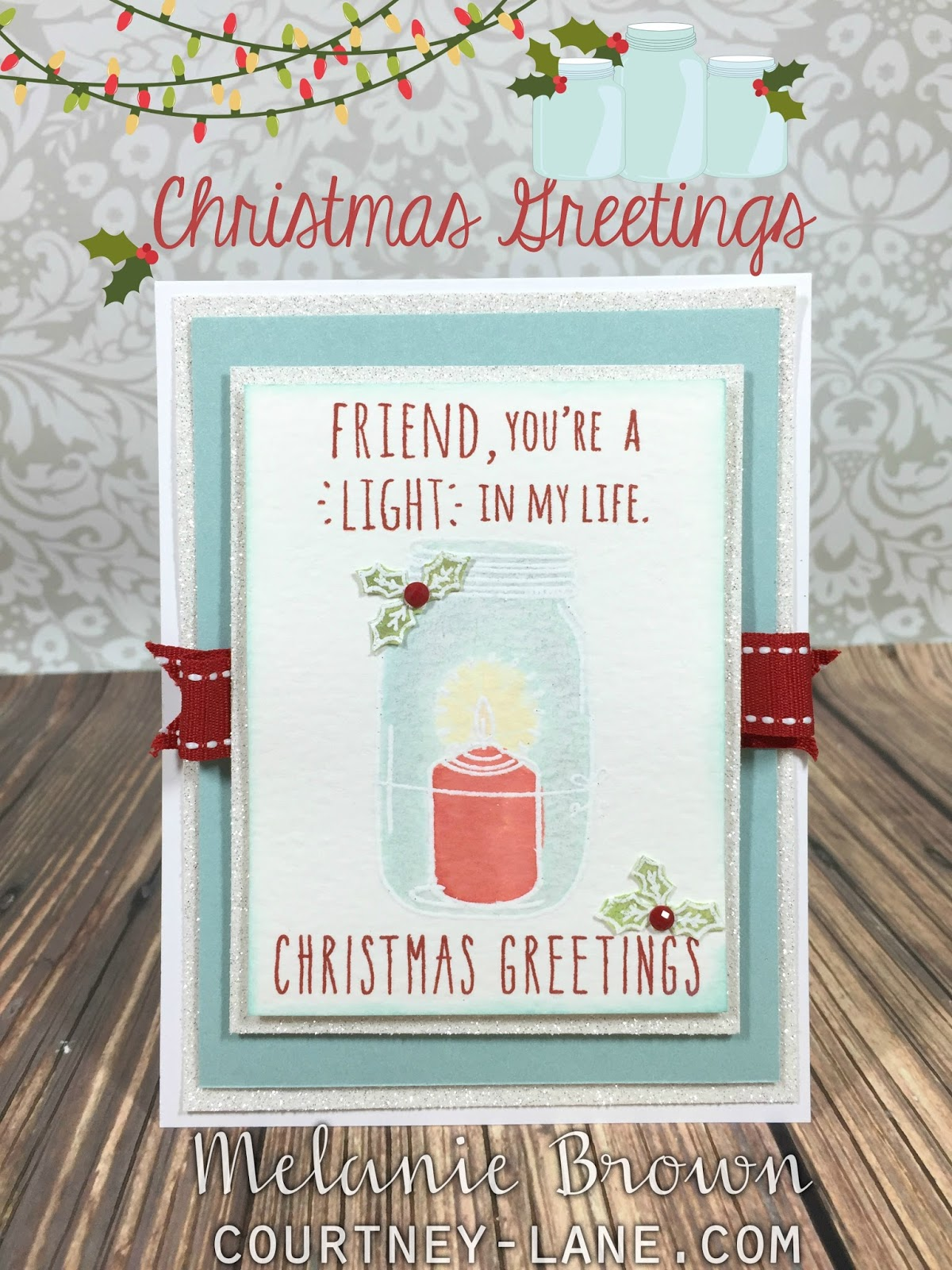 Courtney Lane Designs Christmas Greetings Stamped Card