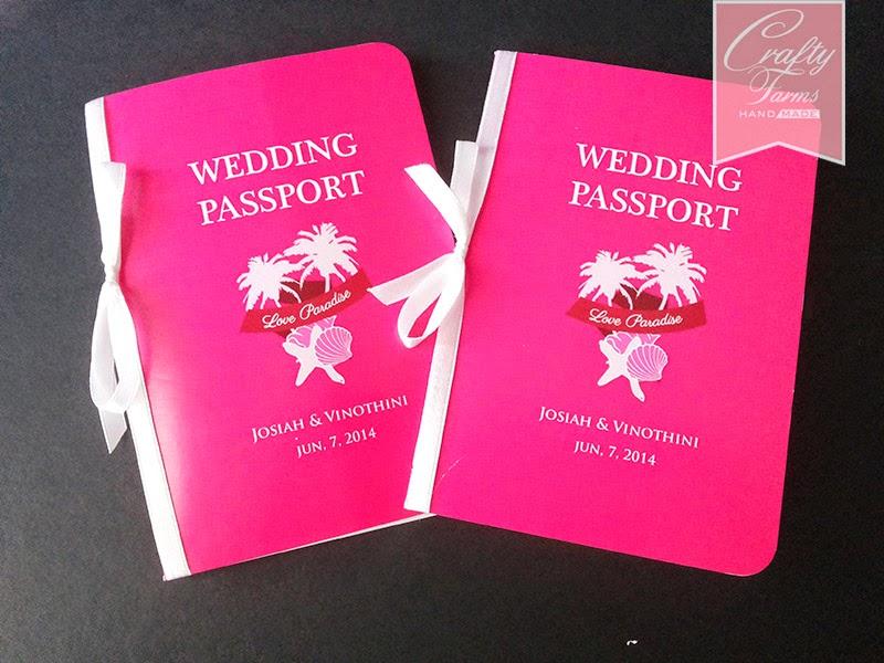 Magenta, Sharp Pink Destination beach Theme Passport Wedding Card Pulau Pangkor Malaysia