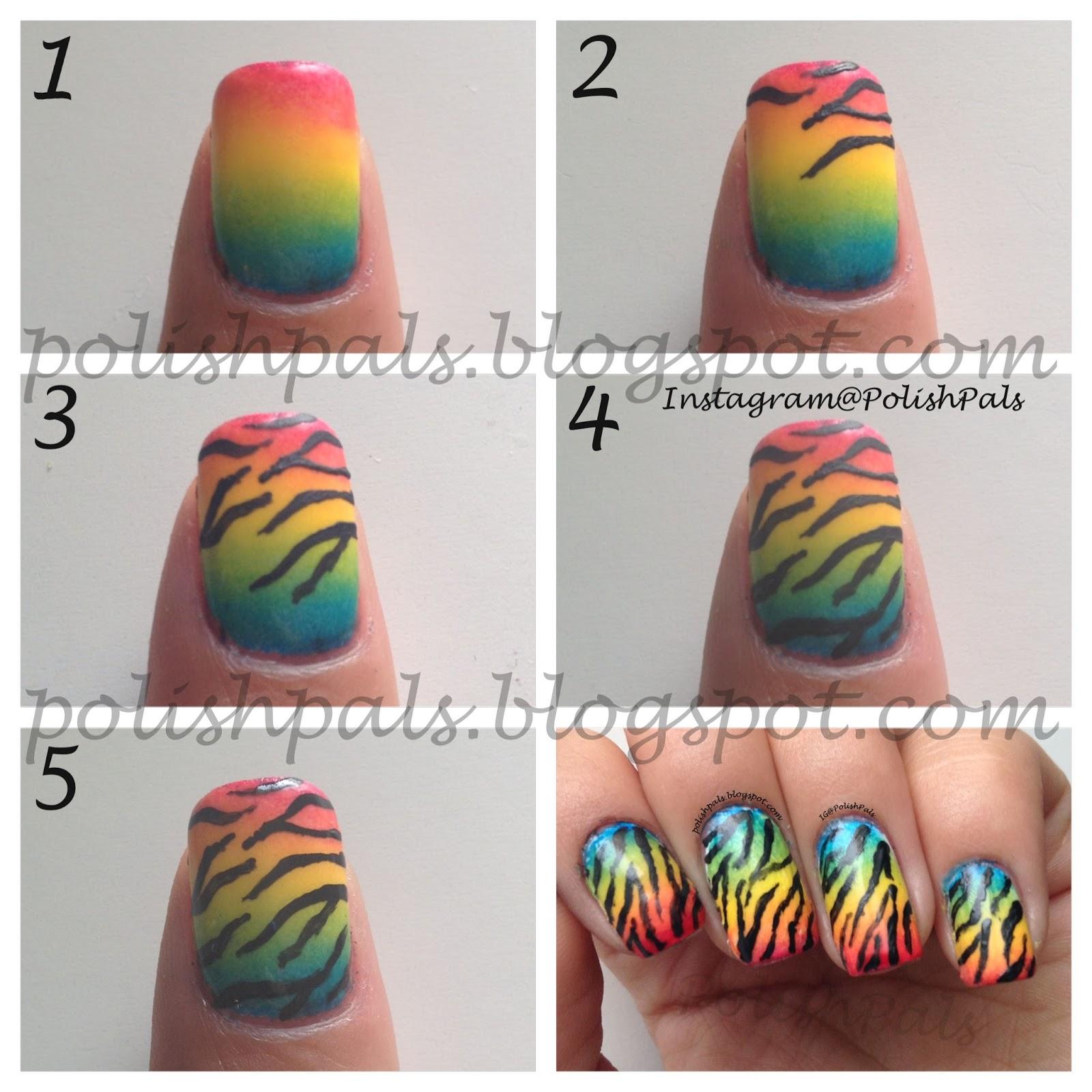Nail Art Rainbow Tutorial : Polish pals rainbow zebra print tutorial