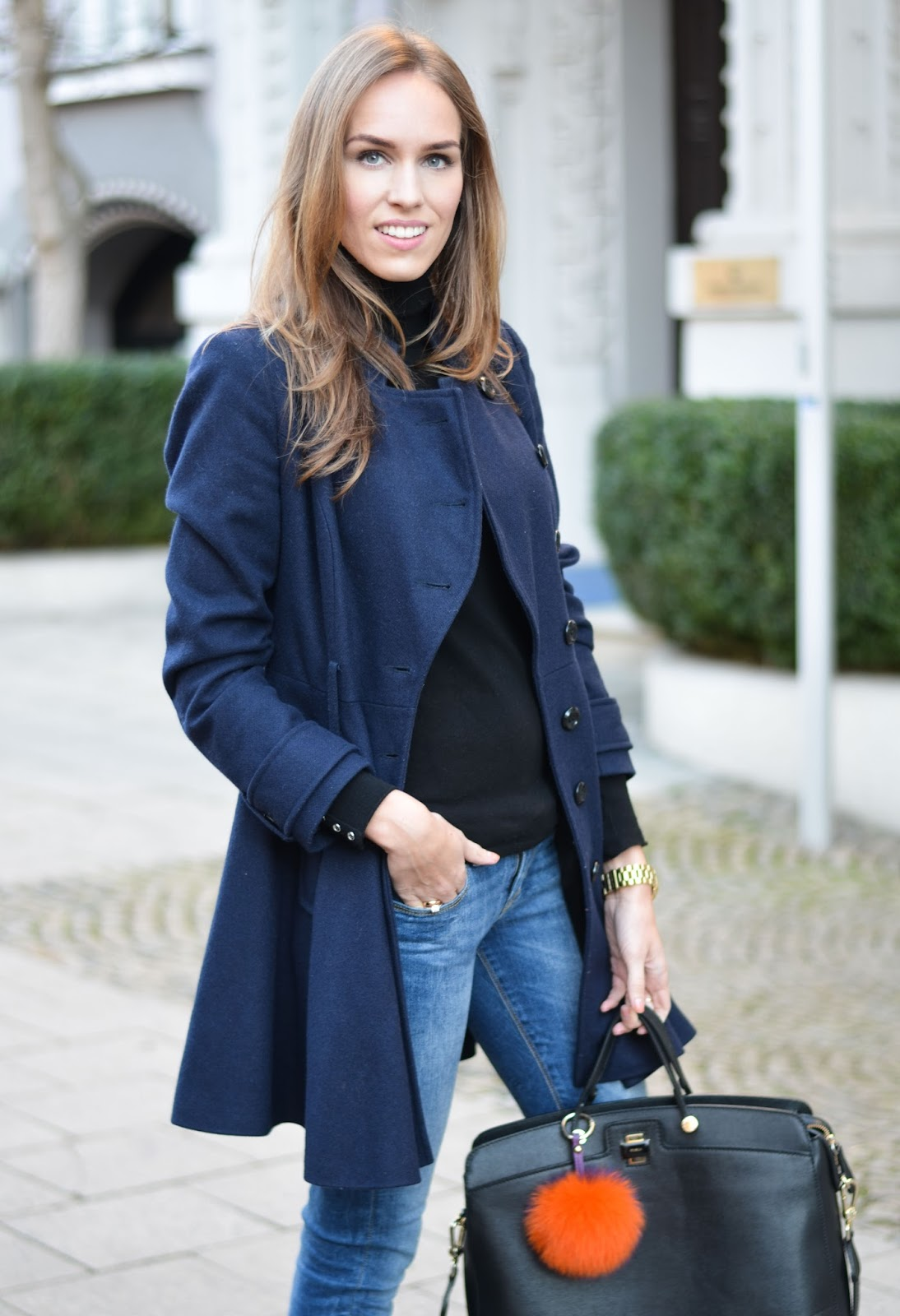 kristjaana mere blue coat black turtleneck jeans winter fashion