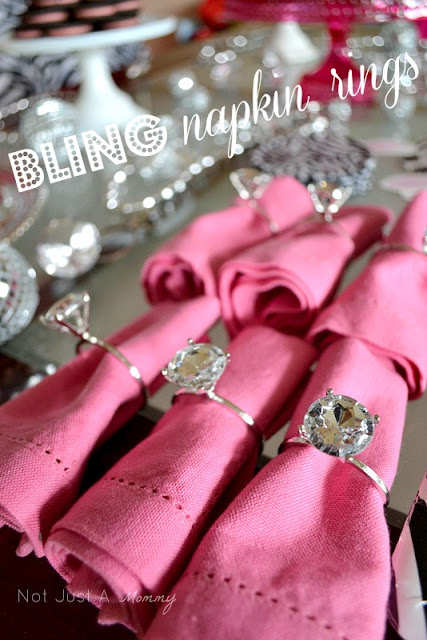 bling baby shower table napkin rings