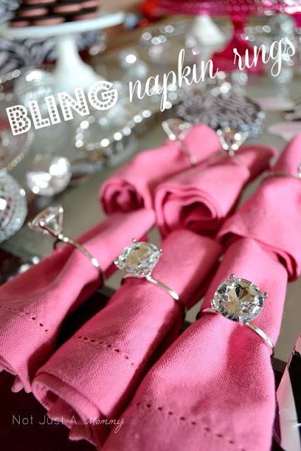 bling baby shower table napkin rings