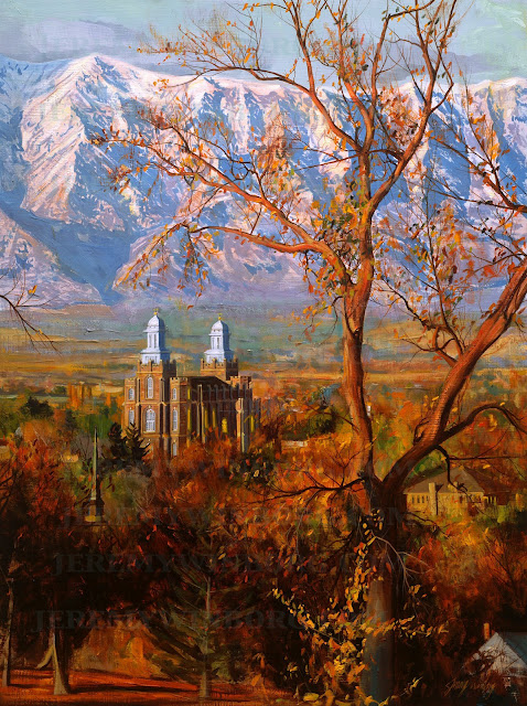 original oil painting of the logan lds temple in autumn