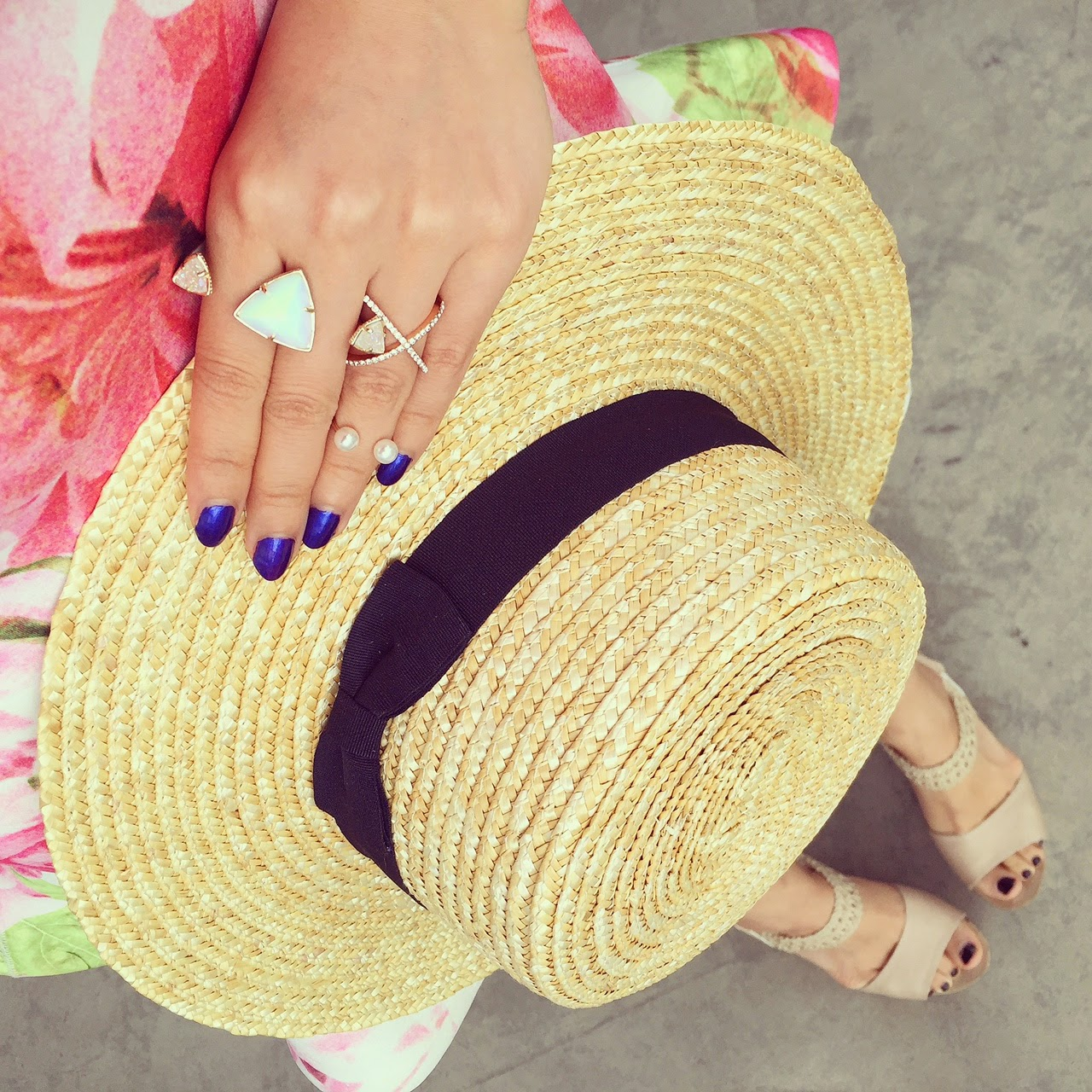 From where i stand, lack of color straw hat, wedges, fashion blog, hat, pearl ring, kendra scott rachel double ring