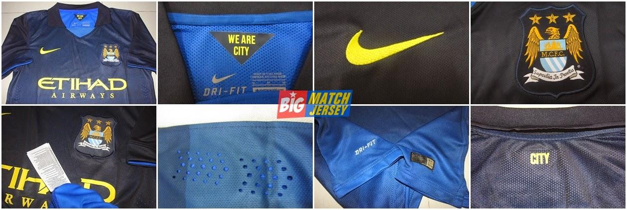 Detail Nike Manchester City Away 14-15 Replica Soccer Jersey
