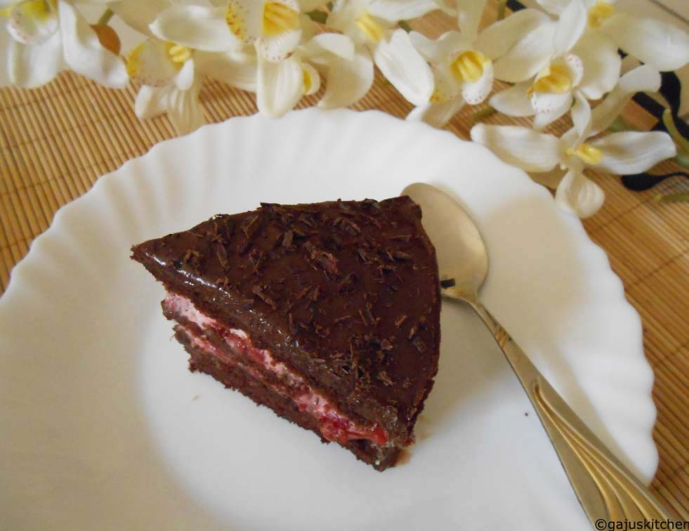 Chocolate Cake layered with Strawberry Cream