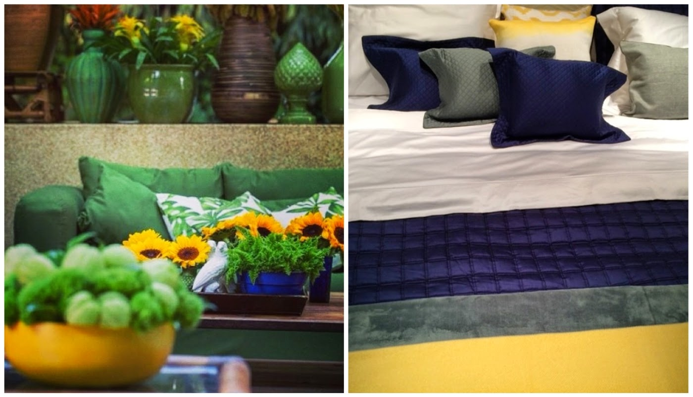sala de estar com as cores do Brasil @decoragram e jogo de cama com azul, branco, amarelo e cinza @interioresdesigndecoracao