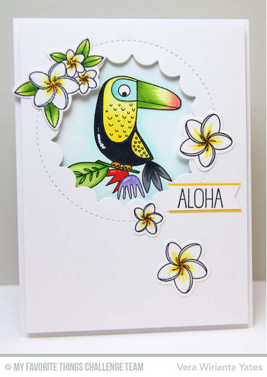 Aloha Card by Vera Wirianta Yates featuring the Birdie Brown Polynesian Paradise stamp set and Die-namics, Birds of Paradise stamp set, and Lisa Johnson Designs Jumbo Peek-A-Boo Circle Windows #mftstamps