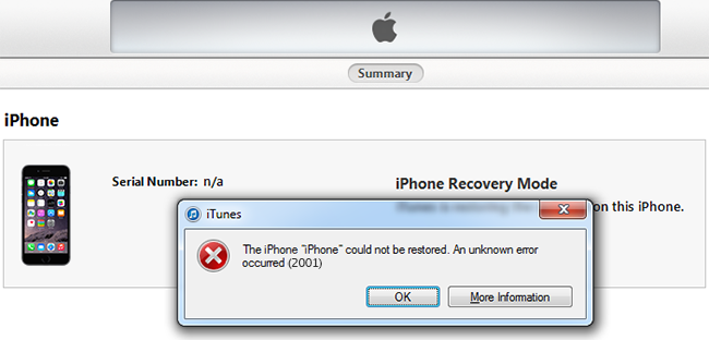 iTunes Error 2001 Fix