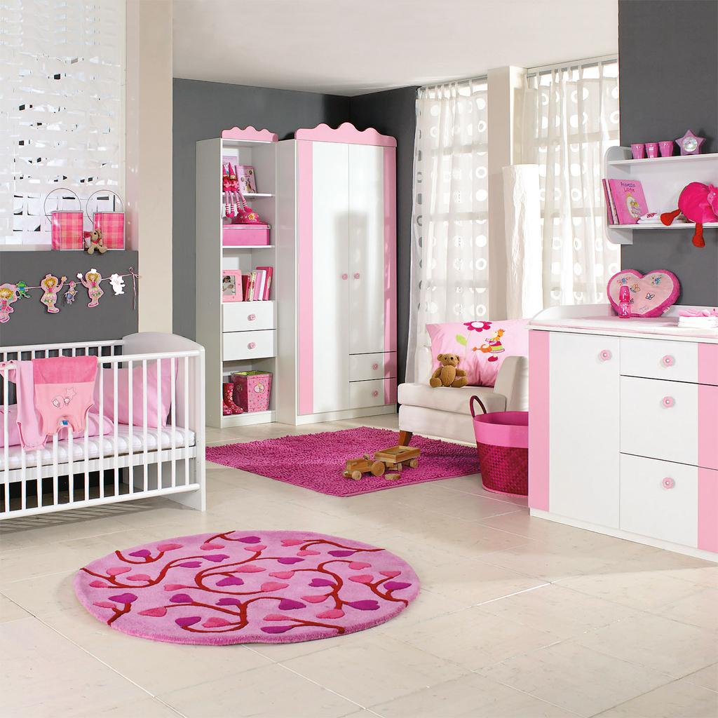 Girls Pink and Grey Baby Room Ideas