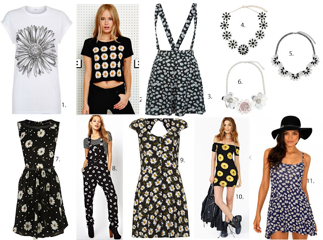 New Look t-shirt, Urban outfitters cropped tee, Miss Selfridge dungaree shorts,oasis tea dress, Motel dungarees, Topshop daisy dress, nastygal off shoulder dress, daisy print, daisy trend, daisy dress,daisies