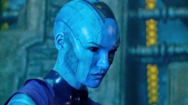 sexy Karen Gillian hot blue alien Nebula in Guardians of the Galaxy