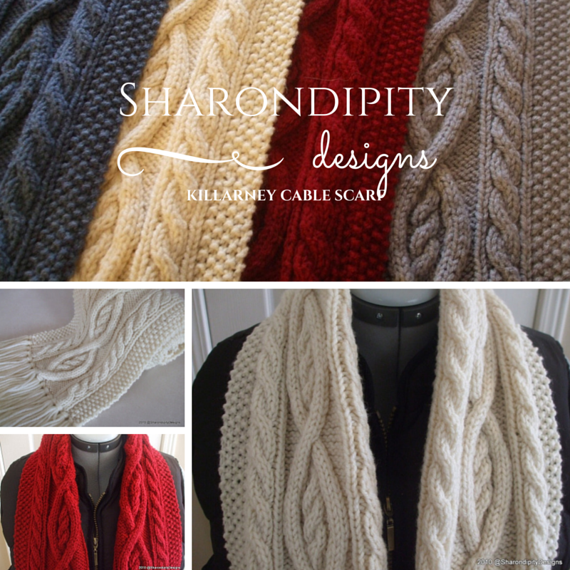 Cable Knit Scarves Patterns : Sharondipity Designs: Killarney Cable Knit Scarf Pattern