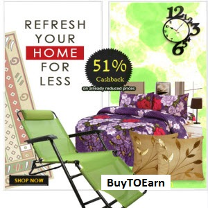 Buy Curtains, Bedsheets, Clocks, Wall Shelves, Rugs & Mats with flat 51% Off