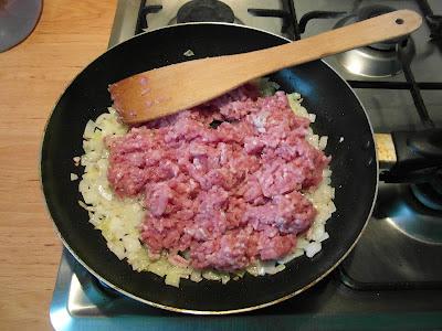 Lazania - warstwa mięsna - przygotowanie