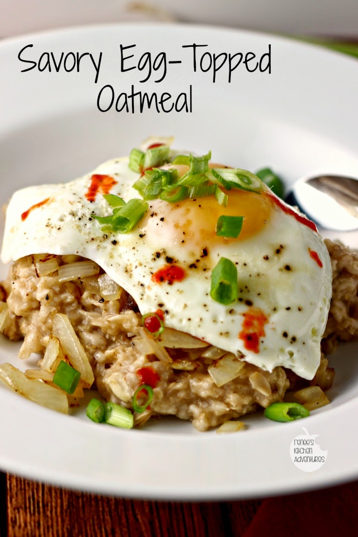 Savory Egg-Topped Oatmeal | A departure from the ordinary!  A savory whole grain oatmeal dish with Asian flavors.