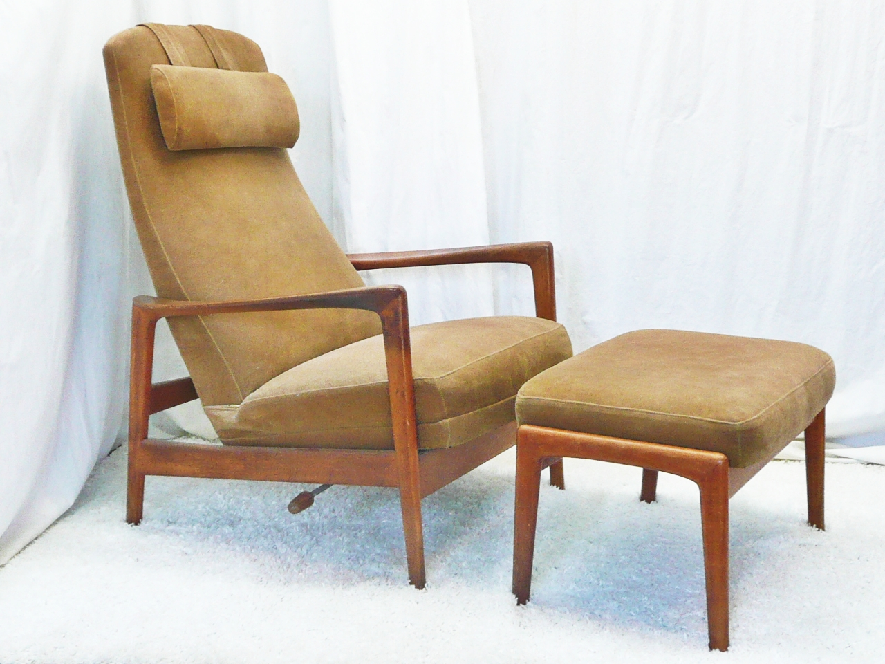 Mid century modern teak dux reclining lounge chair and ottoman