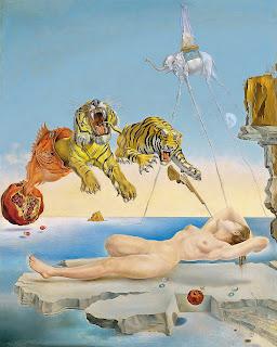 Sueño causado por el vuelo de una abeja alrededor de una granada un segundo antes del despertar, Salvador Dalí