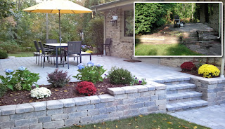 before and after pics of raised patio