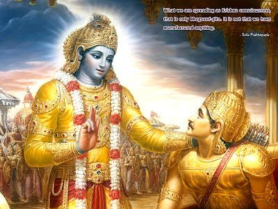 Krishna in mahabharata preaching gita to arjuna