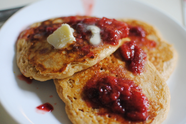 Whole Wheat Pancakes with Strawberry Sauce - Feathers in Our Nest