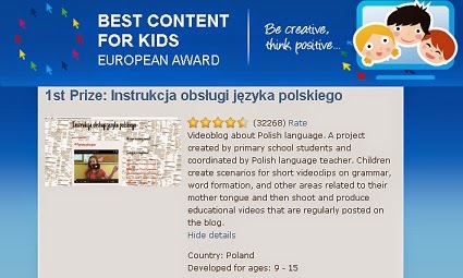 I miejsce w Konkursie The Best Content For Kids 2014