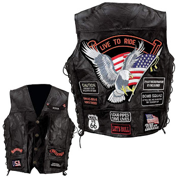 genuine leather bike vest ((LIVE TO RIDE )-WITH  PATCHES