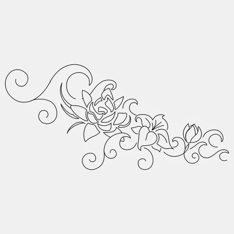 Lotus flowers lace tattoo stencil