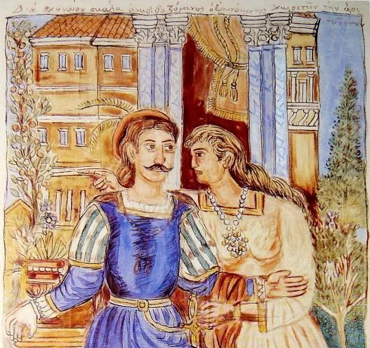 Πίνακας του Θεόφιλου Χατζημιχαήλ «Ερωτόκριτος και Αρετούσα» 1933«Aenai-EpAnastasi