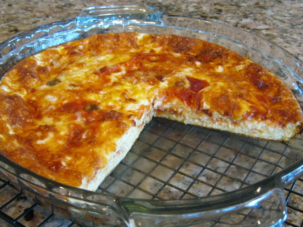 Slice and serve your Crustless Cheese and Salsa Quiche