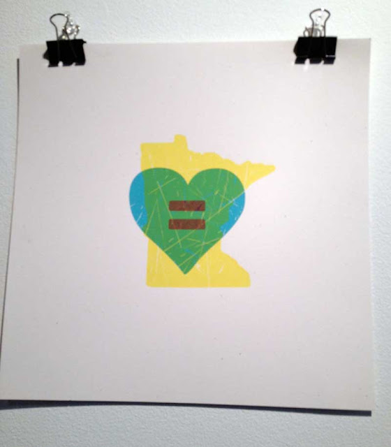 Heart overprinted onto shape of Minnesota