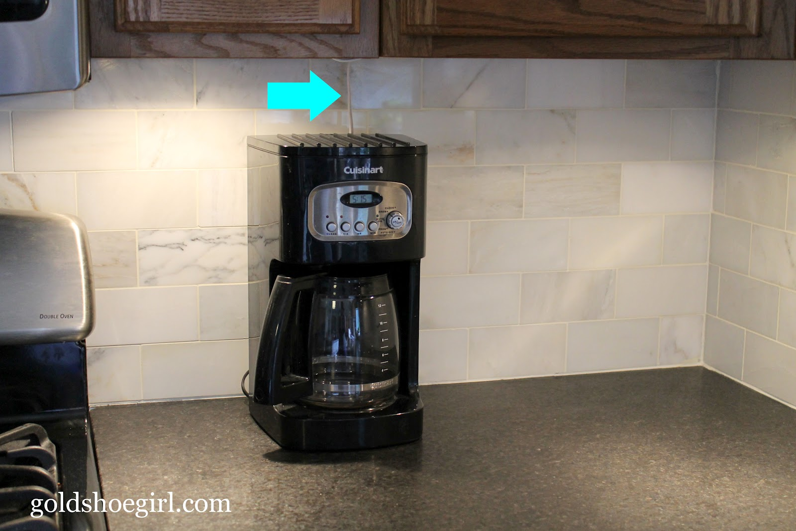 The Cord Goes From Behind The Coffee Maker Up Underneath The Bottom Of The  Cabinets And Through A Hole I Drilled In The Bottom Of Our Corner Cabinet.