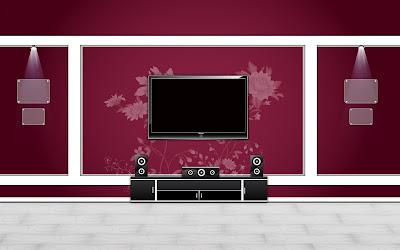 Furniture And Interior Arts Design - Purple White Home Theater