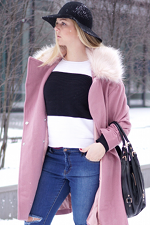 Another pink coat in the snow