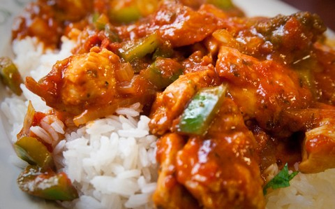 Spicy Caribbean chicken with piping hot rice