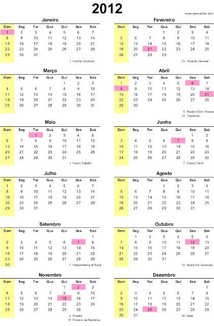 outro modelo do calendário 2012 logo abaixo com as datas dos feriados