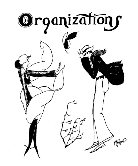 "William Faulkner, Drawing of woman and man in high wind beneath the caption ""Organizations"": Ole Miss 1919-1929 vol. XXIV p. 105"