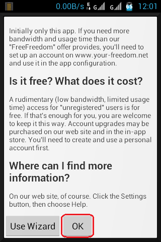 Your Freedom For Android - Wizard and OK