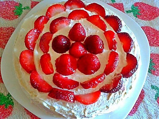 Tarta flor de fresas