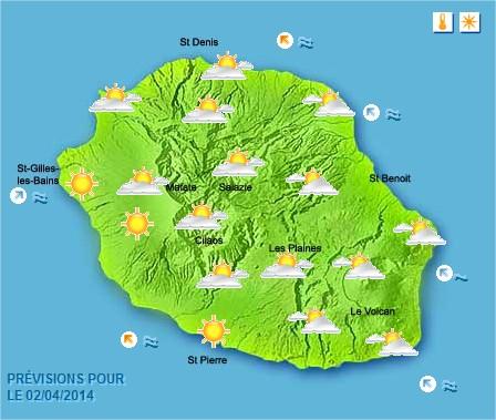 Prévisions météo Réunion pour le Mercredi 02/04/14