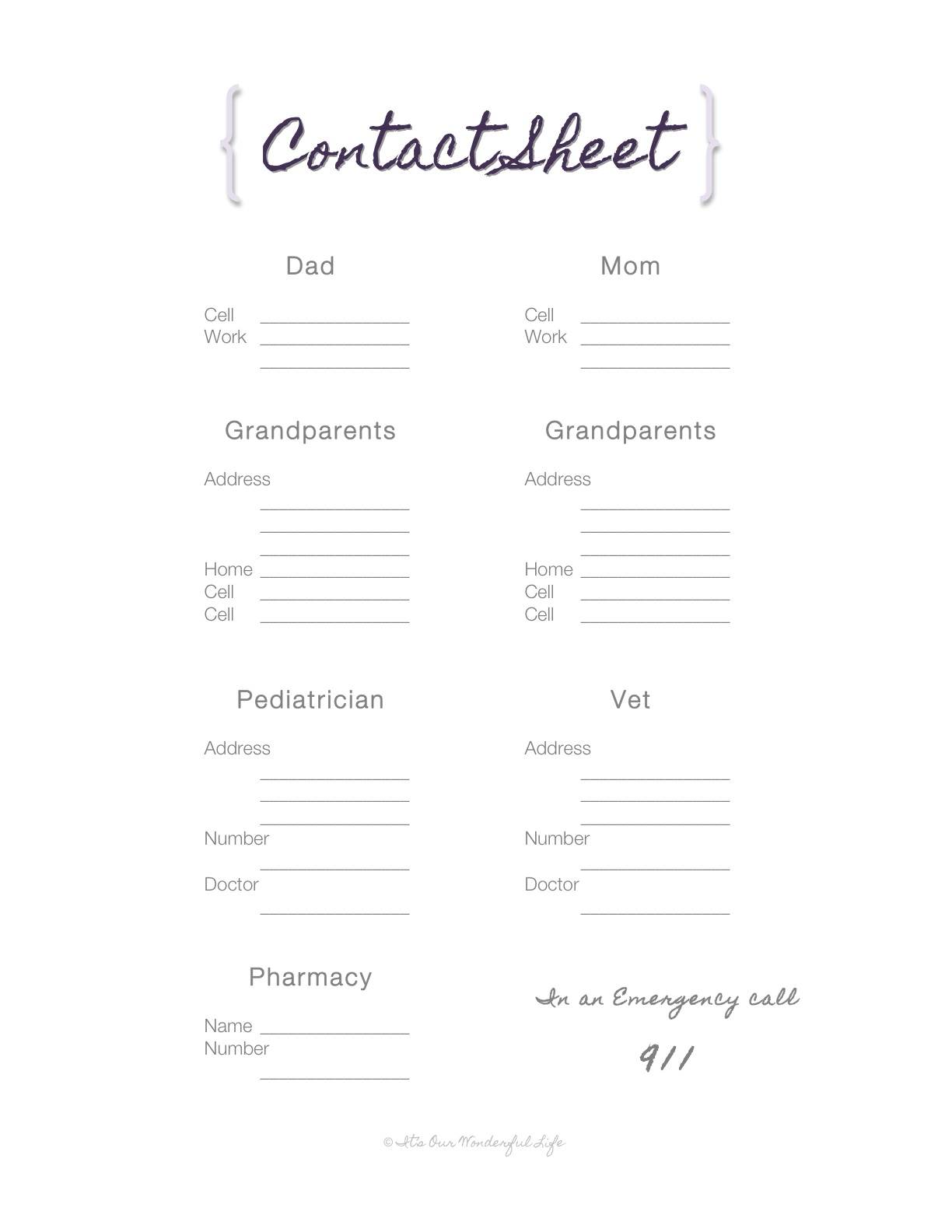 reference contact sheet