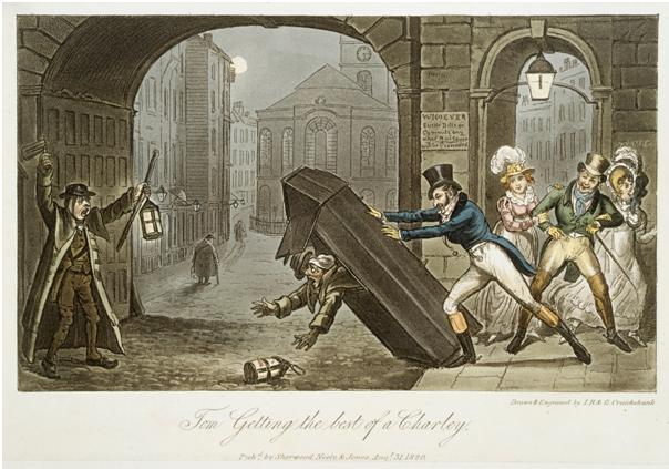 Figure 1. 'Tom Getting the Best of A Charley'. George Cruikshank 1820.  Museum of London Prints.